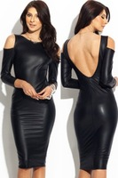 Wholesale 1pcs/lot 2014 New Fashion Free shipping Womens Sexy Drop Shoulder Scoop Back Leather Dress Sheath Bodycon Clubwear M L