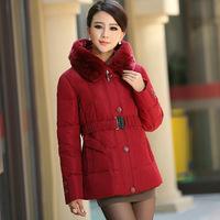 New winter fashion elegant mother dress fur collar short down jacket down jacket slim large code send belt