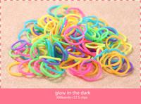 Wholesale - 2014 NEW DIY Bracelet Glow in Dark Rubber Loom Bands Refill 300pcs+12SCLips