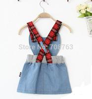 5pcs /Lot ,Children Girl Clothing Denim Jeans Dresses Sleeveless Dressing For 2-7 Year Baby Girls J292