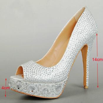2015 silver peep toe gem wedding shoes bridal