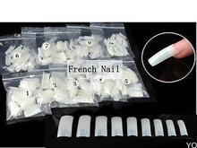 New 500 PCS Natural False Acrylic UV Gel Half French Nail Art Tips Tools(China (Mainland))