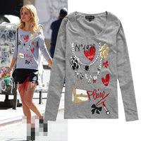2014 New arrival beading decoration cartoon print slim long sleeve cotton t shirt women S,M,L,XL