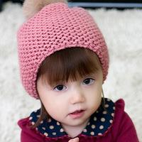 The new children Mao Xianmao rabbit hair ball knitted hat children's hats baby Winter Hat warm cap