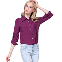 Women Chiffon Blouse Shirt Female Long Sleeve Spring Autumn European American Plus Size XL 2014 New Turn Down Collar Ladies Tops