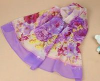 160*50cm Women Fashion Korean chiffon scarves wholesale  Peony printed Sun shawl shawls scarves