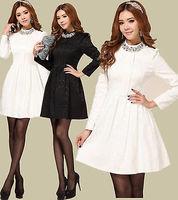 2014 NEW Fashion Women's Rhinestone Jacquard Pleat Vintage Evening Elegant Dress