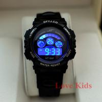 Sport's Black Color Child Boy School Digital Dive AL  Flash BackLight  Soft Rubber Strap Wrist Watches Sport Watch New
