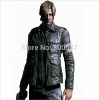 2014 Super Cool Men's Slim Various-pocket High quality Leather Jacket coat Clothes Y010