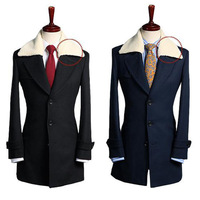 Free Shipping 2014 Men's Detachable Wool Collar Long Jackets Slim Trench Tweed Coat Overcoat Single Breasted Outerwear Girdle