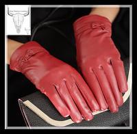 2014 women fashion winter sheepskin high-grade ladies fashion winter gloves bowknot leather gloves