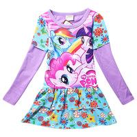 Free shipping! 2014 new girls Autumn Dress flower girls dresses children girls cotton long-sleeved dress cartoon clothing