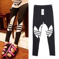 2014 New Fashion black casual Plus size Leggings Women Pencil Fitness Workout STATEMENT Blogger Alphabet print Sweat Pants