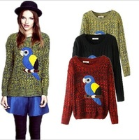 2015 Hitz European and American hand-embroidered parrot patch printing loose casual sweater