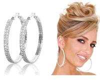 Lady Silver Hoop Round Earrings Rhinestone Diamante Crystal Gem Jewellery 2 Rows Multi Size