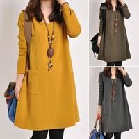 2014 women's fashion elegant casual basic mm loose plus size long-sleeve dress Women's Clothing