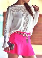 2014 brand new autumn hollow stitching lace chiffon blouse Women sexy round neck long-sleeved chiffon shirt free shipping LL1336