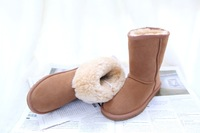 New 2014 women shoes genuine Leather mid-calf solid boots winter women boots snow boots 12 colors plus size 35-44