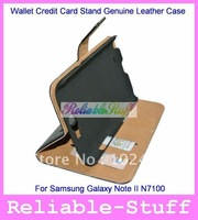 Wallet Credit Card Stand Genuine Leather Case Back Cover for Samsung Galaxy Note II 2 N7100 100pcs/lot free shipping N7100C03
