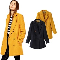 Sell Autumn European New Fashion 2014 ZA Women Jacket Green Black Orange Red Yellow Long Coat Casual Overcoat Excellent Quality