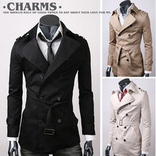 Recommended cotton men's double-breasted coat trend wild Slim lapel coat big yards fashion England(China (Mainland))