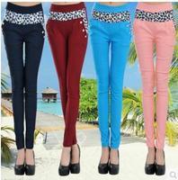 9 colors ! 2014 Women's New Spring  Autumn Leopard Print Slim  Elastic Skinny Pants Trousers Pants Capris Free Shipping  #0016