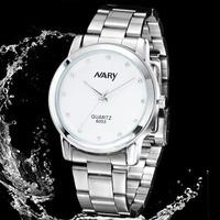 Hot Sale High Quality Men Full Steel Watch White Round Dial Stainless Steel Quartz Wristwatch Fashion Clock Business Watch