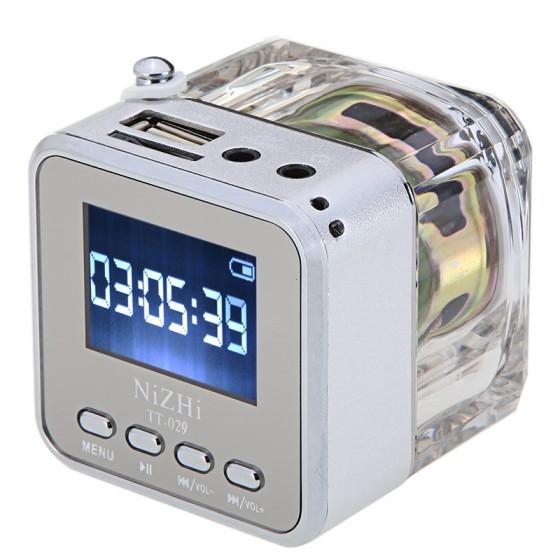 ACOSUN Portable Mini Digital Speaker Music MP3/4 Player Micro SD/TF USB Disk FM Silver(China (Mainland))