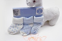 Free shipping three pairs of socks in a bag autumn and winter style thick organic cotton baby terry socks factory shipments