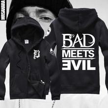Bad Meets Evil Shady Slaughterhouse Logo Retro Da Eminem Rap Music Hip Hop Unisex Zip Hooded Sweatshirt Hoodie(China (Mainland))