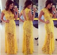Elegant Yellow Lace Prom Dress Mulheres Moda Vestido De Baile Renda Amarela Vestidos De Festa Longo Backless Party MaxiDress 028