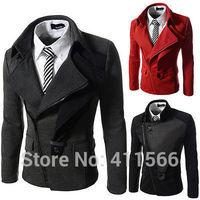 Free Shipping 2014 New Arrived Fashion Men's Leisure Blazers Suits Slim Fit Zipper Suit Jackets Coat Outwear 3 Color M-XXL