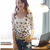 2014 new fashion hot cozy t shirt women clothing autumn sexy tops tee clothes blouses t-shirt Wild Butterfly Print Slim
