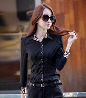 2014 new Promotions hot trendy cozy women blouse shirts Fashion Korean Leopard long-sleeved women's Slim shirt mixed colors