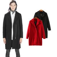 European 2014 Brand New Fashion ZA Women Autumn Winter Coat Woolen Cashmere Black Red Zipper Casual Long Outerwear Free shipping