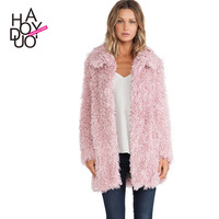 Fashion sweet soft circle wool long design double pocket turn-down collar hook front fly fur coat