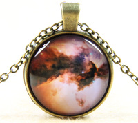 Colorful Galaxy Universe Glass Cabochon Pendant Handmade Glass Dome Necklace Jewelry