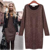 Hot Sale!! Women Winter Dress 2014 New Fashion Pure Color Casual Dress Long Sleeve Autumn Dresses 3XL Vestidos