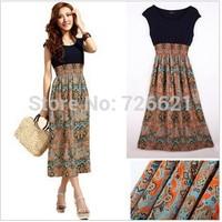Hotsale Cheap Bohemian Dress Fashion Vintage Flower Print Chiffon Patchwork Long Dress For Women Summer Wear Beach Dress Clothes