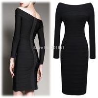 Drop Shipping 2014 Spring Autumn New High-End Fashion Women Elegant Slim Black Sexy  Celebrity Bandage Bodycon Evening Dress