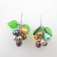 free shipping multicolor freshwater pearl & green leaf dangle earring 5-6MM B1#