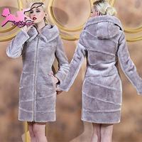 fur coat women New ELegant Thick Soft Sheepskin Warm winter coat women Plus Size S-3XL Long Sections Zipper women coats JA03420
