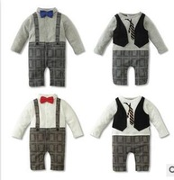 2014 autumn infant new born toddler baby boy rompers gentleman baby clothes overall boy clothes thick