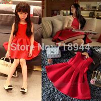 2014 New Arrive Fashion Top Quality Space Cotton Red Sundress Girls Dress Princess Dresses Size 90/100/110/120/130cm