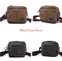 Hot! Men's vintage canvas leather school bag chest bag military shoulder bag messenger bag
