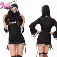 halloween costumes for women Sexy Black Arab Disfraces Slim Fit Mini Dress christmas costumes Fantasia Nun cosplay XHS028
