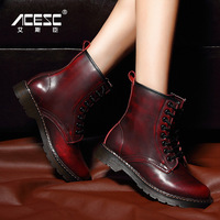 2014 autumn and winter isdell genuine leather cowhide martin boots female flat heel ankle boots fashion lacing fashion boots
