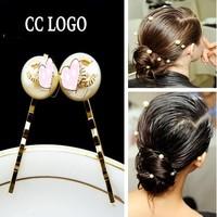 Fashion Brand Small Hair Pin Double Letter Pearl Hair Clip Pearl ACC