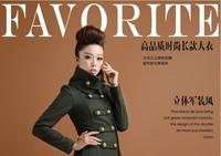 NEW winter female double breasted wool woollen overcoat long jacket slim coat temperament uniform wind 2