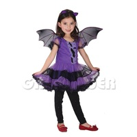 Free Shipping Children Costume Purple Bat Kits Kids Dancing Skirt Halloween Costume for Children Cosplay Clothing